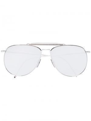 Солнцезащитные зеркальные очки Thom Browne Eyewear. Цвет: золотистый