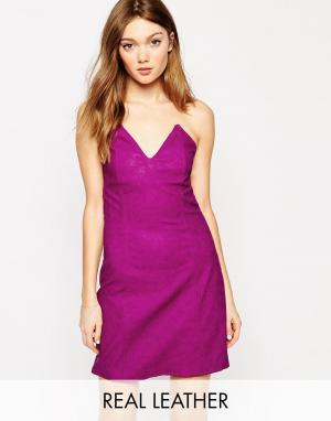 Платье из экокожи Boulee. Цвет: fuschia