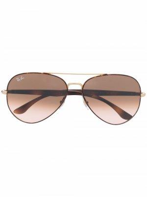 Солнцезащитные очки-авиаторы Ray-Ban. Цвет: коричневый