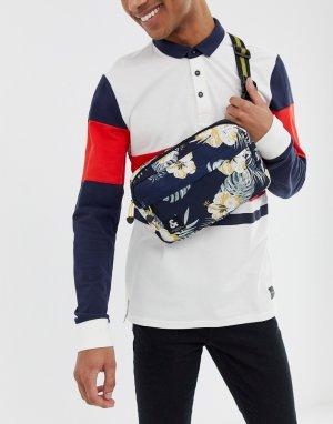 Сумка-кошелек на пояс с цветочным принтом Jack & Jones. Цвет: темно-синий