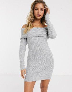 Серое платье-туника с открытыми плечами -Серый Lipsy