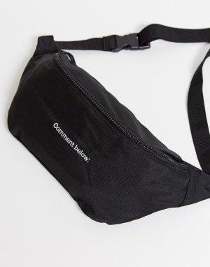 Черная сумка-кошелек через плечо с надписью -Черный ASOS DESIGN