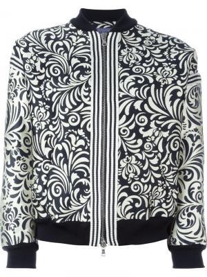 Жаккардовая куртка-бомбер с цветочным принтом Emanuel Ungaro. Цвет: чёрный