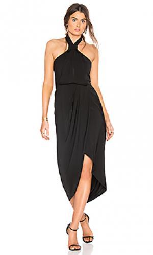 Драпированное платье с узлом Shona Joy. Цвет: черный