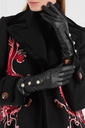 Кожаные перчатки Gucci. Цвет: черный
