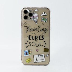 Прозрачный чехол для телефона с узором туристические сувениры SHEIN. Цвет: прозрачный
