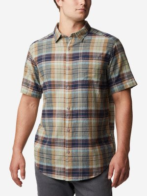 Рубашка с коротким рукавом мужская Under Exposure™, размер 48-50 Columbia. Цвет: зеленый
