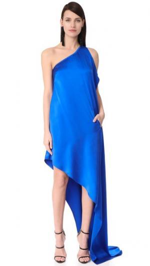 Асимметричное вечернее платье на одно плечо KAUFMANFRANCO. Цвет: кобальт