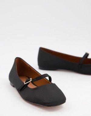 Черные балетки с ремешком на подъеме ASOS DESIGN Lolly-Черный цвет