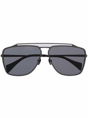 Солнцезащитные очки-авиаторы Yohji Yamamoto. Цвет: серый
