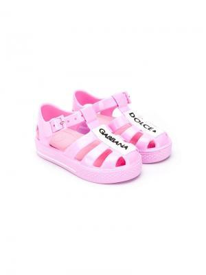 Туфли с нашивкой-логотипом Dolce & Gabbana Kids. Цвет: розовый