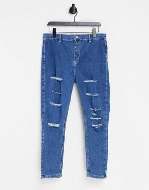 Синие джинсы с интенсивной рваной отделкой Joni-Голубой Topshop