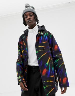 Зимняя спортивная куртка с принтом тай-дай ASOS 4505. Цвет: красный