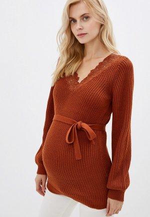 Пуловер Mamalicious. Цвет: коричневый