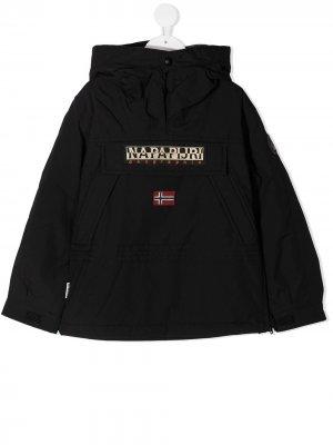 Куртка с капюшоном и вышитым логотипом Napapijri. Цвет: черный