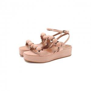 Замшевые сандалии Alaia. Цвет: бежевый