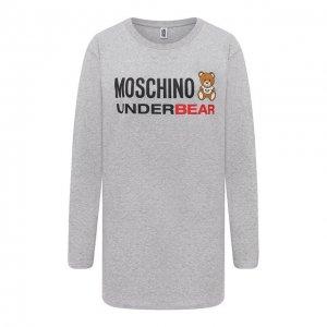 Хлопковый лонгслив Moschino Underwear Woman. Цвет: серый