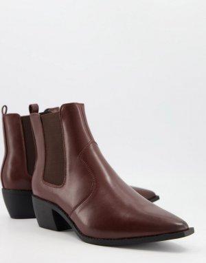 Коричневые сапоги в стиле вестерн из искусственной кожи на кубинском каблуке -Коричневый цвет ASOS DESIGN