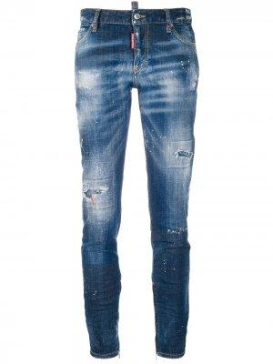 Укороченные джинсы Cool Girl Dsquared2. Цвет: синий