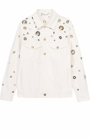 Джинсовая куртка с металлизированной отделкой Kenzo. Цвет: белый