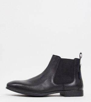 Черные кожаные ботинки-челси Wide Fit-Черный цвет Ben Sherman