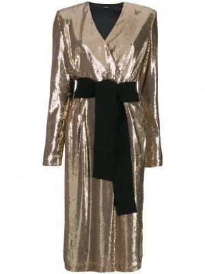 Коктейльное платье с пайетками P.A.R.O.S.H.. Цвет: золотистый