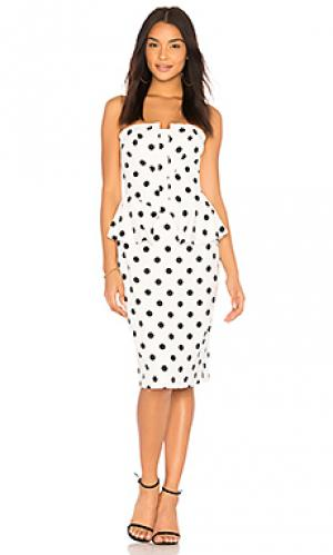 Платье с баской suri Bardot. Цвет: белый