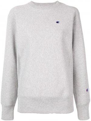 Флисовый пуловер с начесом Champion. Цвет: серый