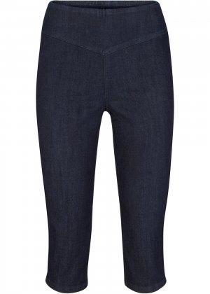 Капри джинсовые стрейч bonprix. Цвет: синий