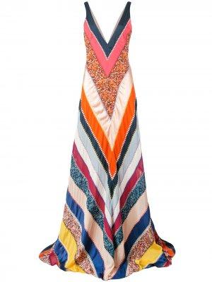 Платье Ellsworth в технике пэчворк Altuzarra. Цвет: оранжевый