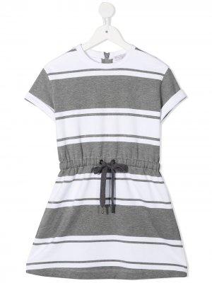 Платье-футболка в горизонтальную полоску Brunello Cucinelli Kids. Цвет: серый