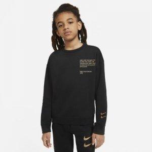 Свитшот с логотипом Swoosh для мальчиков школьного возраста Sportswear - Черный Nike