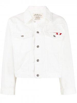 Укороченная джинсовая куртка с металлическим логотипом Diesel. Цвет: белый