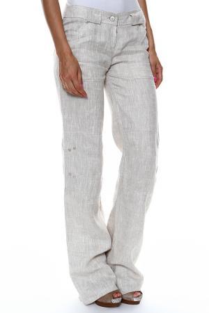 Удлиненные брюки с застежкой L-Design. Цвет: натуральный/бежевый