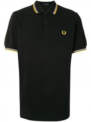 Рубашка поло с отделкой в полоску и логотипом FRED PERRY. Цвет: черный