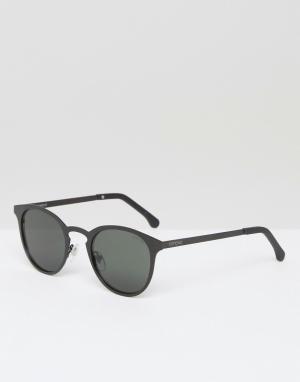 Круглые солнцезащитные очки в черной матовой оправе Hollis Komono. Цвет: черный