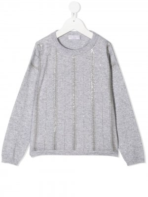 Sequin-embellished sweater Brunello Cucinelli Kids. Цвет: серый