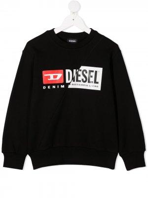 Свитер с логотипом Diesel Kids. Цвет: черный