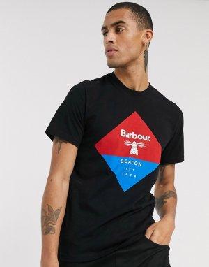 Черная футболка с логотипом -Черный Barbour Beacon