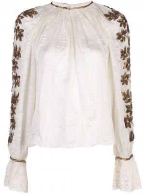 Блузка с цветочной вышивкой Ulla Johnson. Цвет: белый