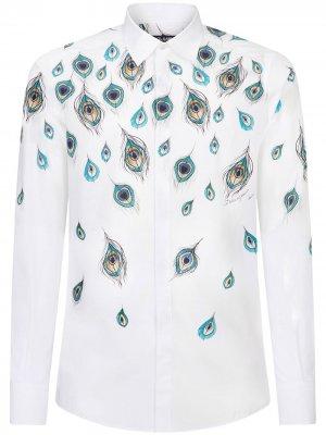 Рубашка с длинными рукавами и принтом Peacock Dolce & Gabbana. Цвет: белый