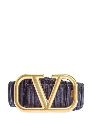 Ремень из мягкой кожи с макро-пряжкой VLOGO VALENTINO GARAVANI. Цвет: черный