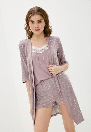 Халат и сорочка ночная Агапэ. Цвет: фиолетовый