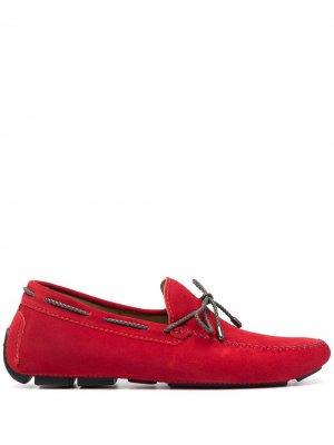 Топсайдеры на шнуровке Kiton. Цвет: красный