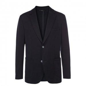Однобортный пиджак из смеси шелка и хлопка Brioni. Цвет: синий