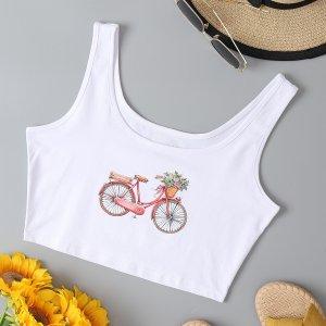 Кроп майка узором велосипеда & с цветочным принтом SHEIN. Цвет: белый