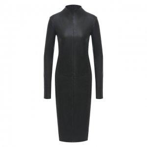 Кожаное платье DROMe. Цвет: чёрный