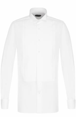 Хлопковая сорочка под смокинг с воротником бабочка Tom Ford. Цвет: белый