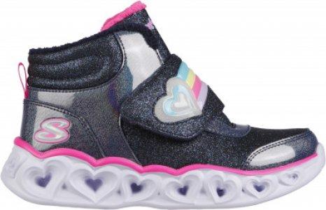 Кроссовки высокие утепленные для девочек Heart Lights, размер 28.5 Skechers. Цвет: синий