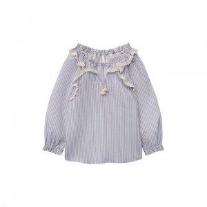 Хлопковая блузка Zimmermann. Цвет: синий